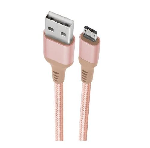 CABO SILICONE MICRO USB 1M ROSA TOPK